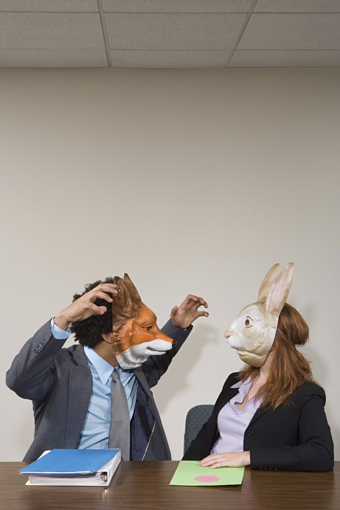 Colleagues wearing masks : Stock Photo