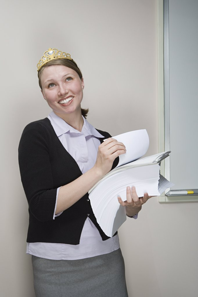 Office worker wearing a tiara : Stock Photo
