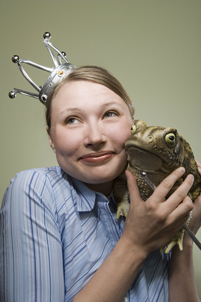 Office worker and frog : Stock Photo