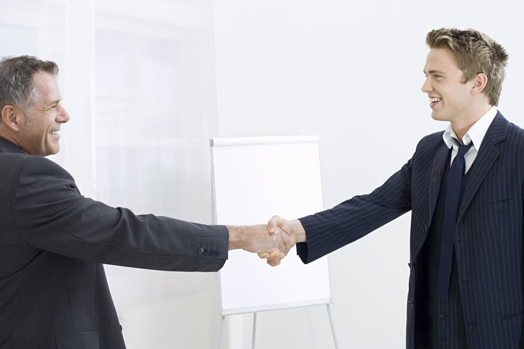 Businessmen asking hands : Stock Photo