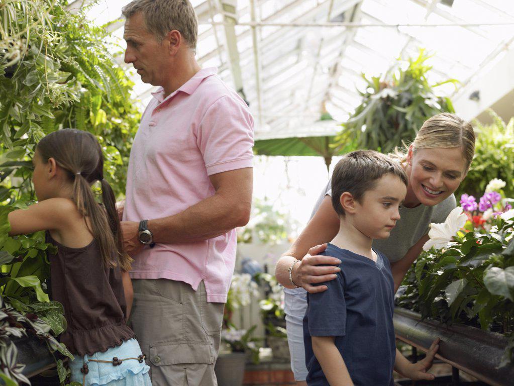 Stock Photo: 1439R-1024963 Family in a garden centre
