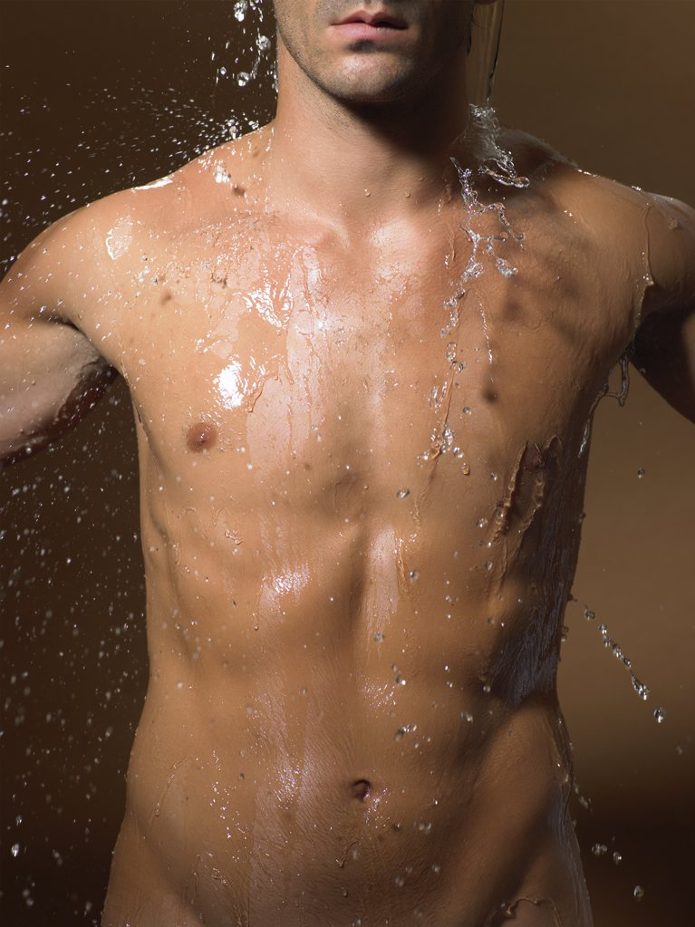 Stock Photo: 1439R-1031738 Man showering