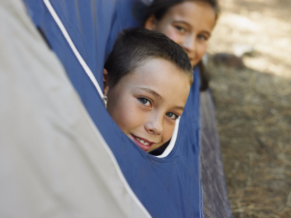 Kids in a tent : Stock Photo