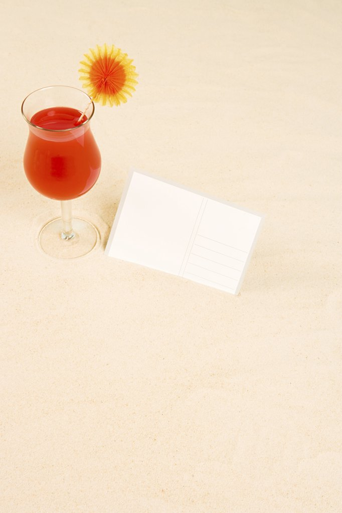 Cocktail and postcard : Stock Photo