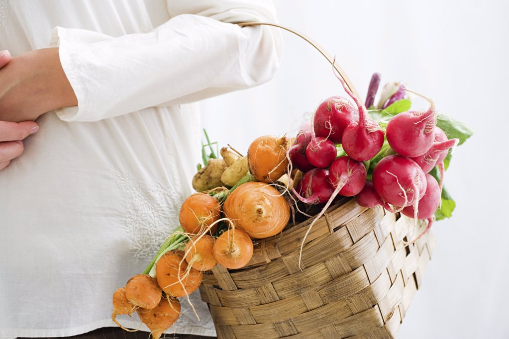 Stock Photo: 1439R-1054663 Woman holding basket of beetroot and radishes