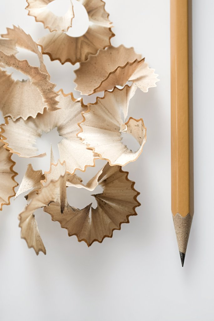 Stock Photo: 1439R-1070074 Pencils and shavings