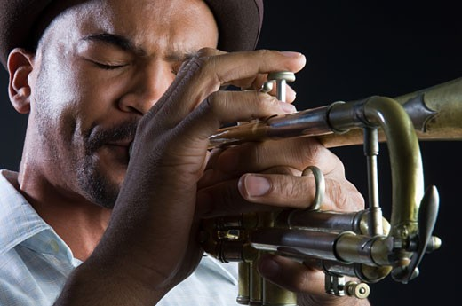 A man playing the trumpet : Stock Photo