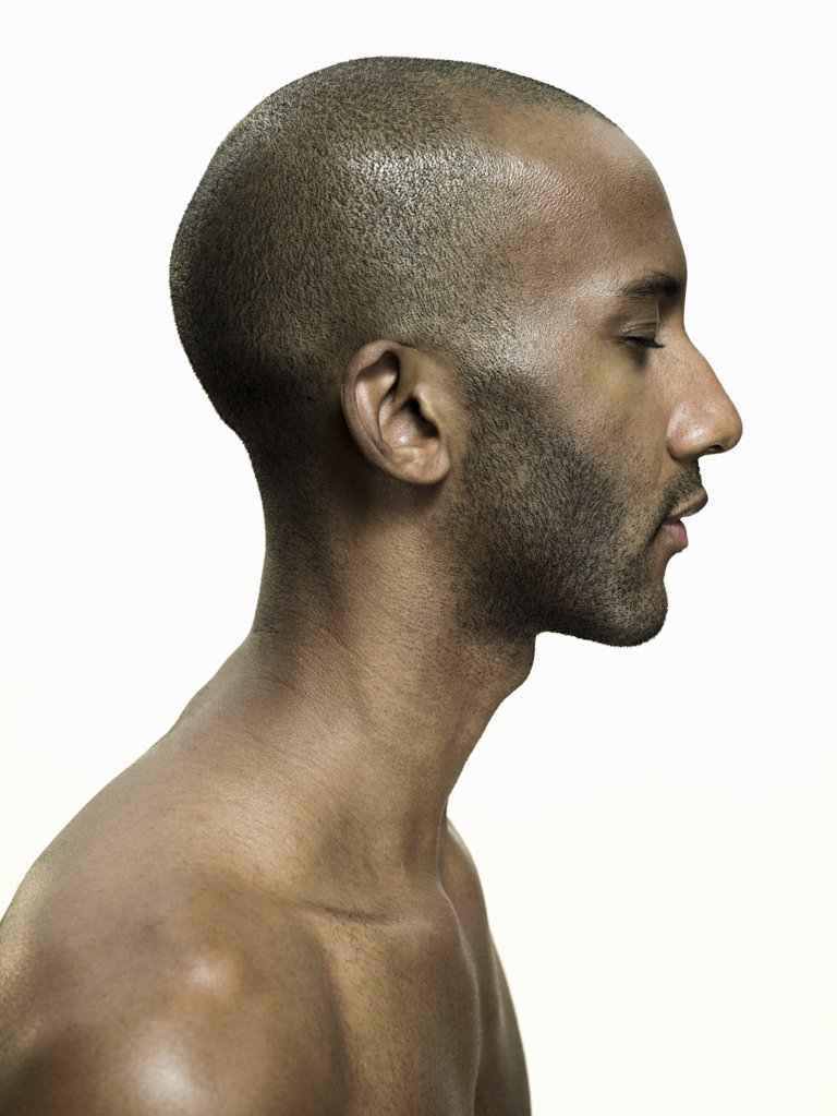 Profile of an african american man : Stock Photo