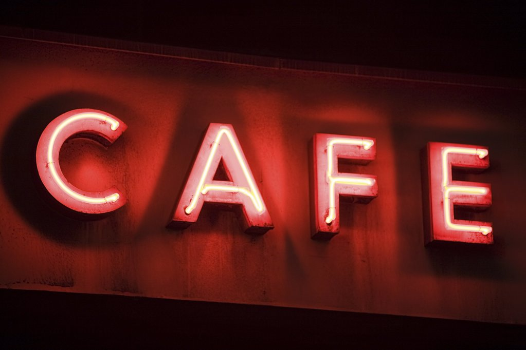 Stock Photo: 1439R-1085658 Neon sign for a cafe
