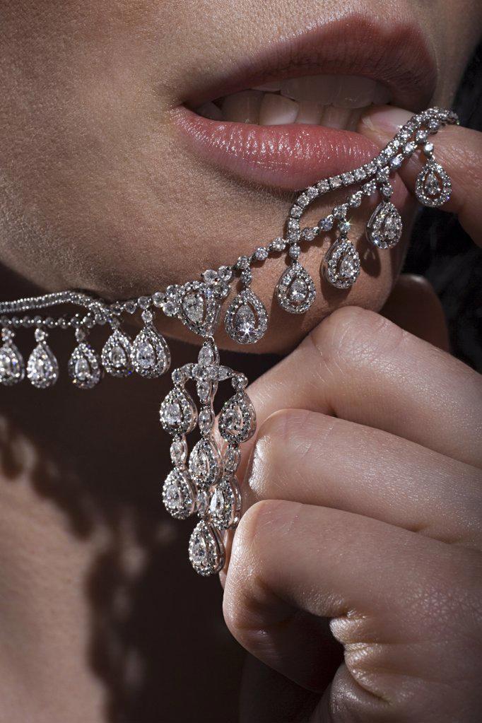 Woman with diamond necklace : Stock Photo