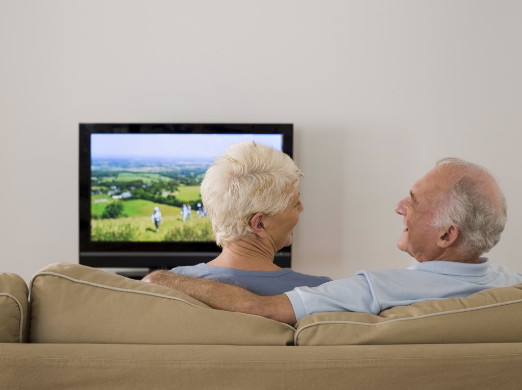 Stock Photo: 1439R-1090584 A senior couple watching tv and talking
