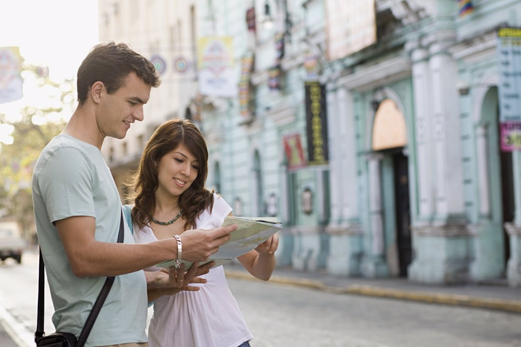 Stock Photo: 1439R-1091304 Couple with map