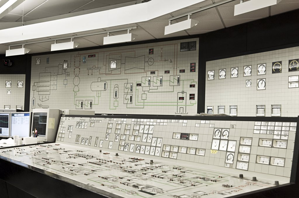 Control panel in power plant : Stock Photo