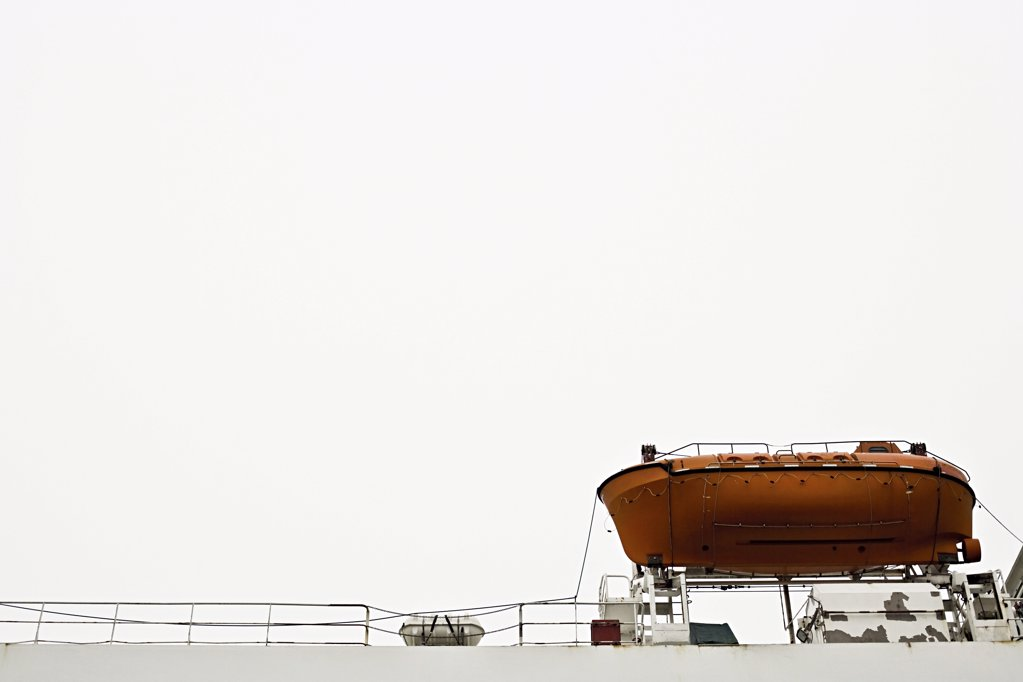 Stock Photo: 1439R-1091944 Lifeboat on a ship