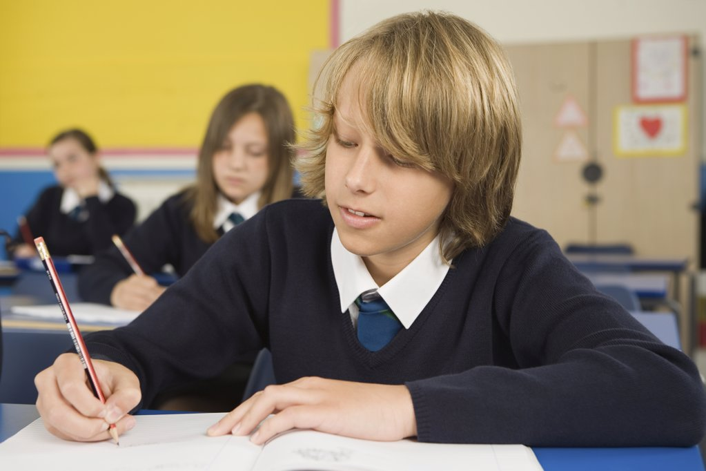 School students writing : Stock Photo