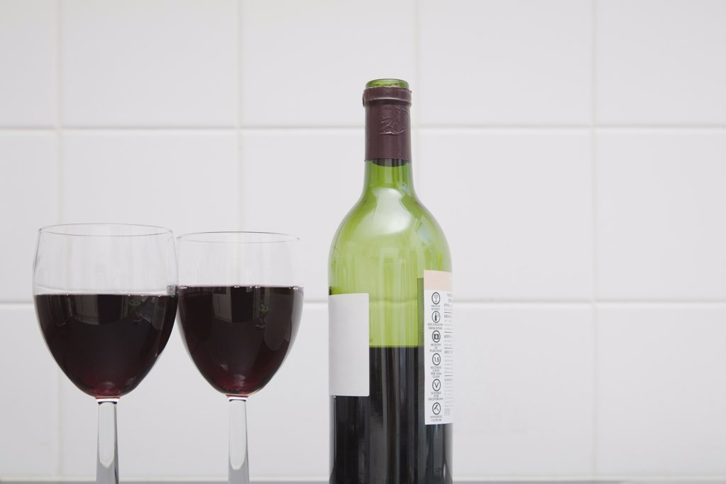 Wine bottle and glasses : Stock Photo