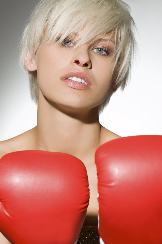 Portrait of a female boxer : Stock Photo