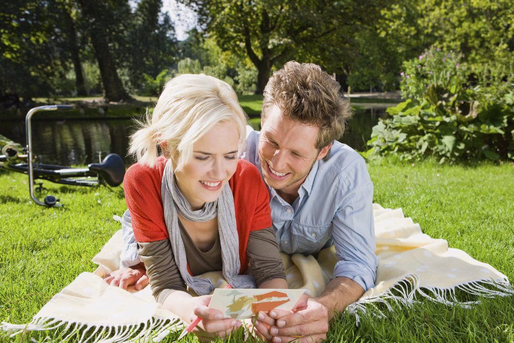 Couple in park : Stock Photo
