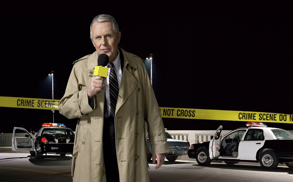 News presenter at crime scene : Stock Photo