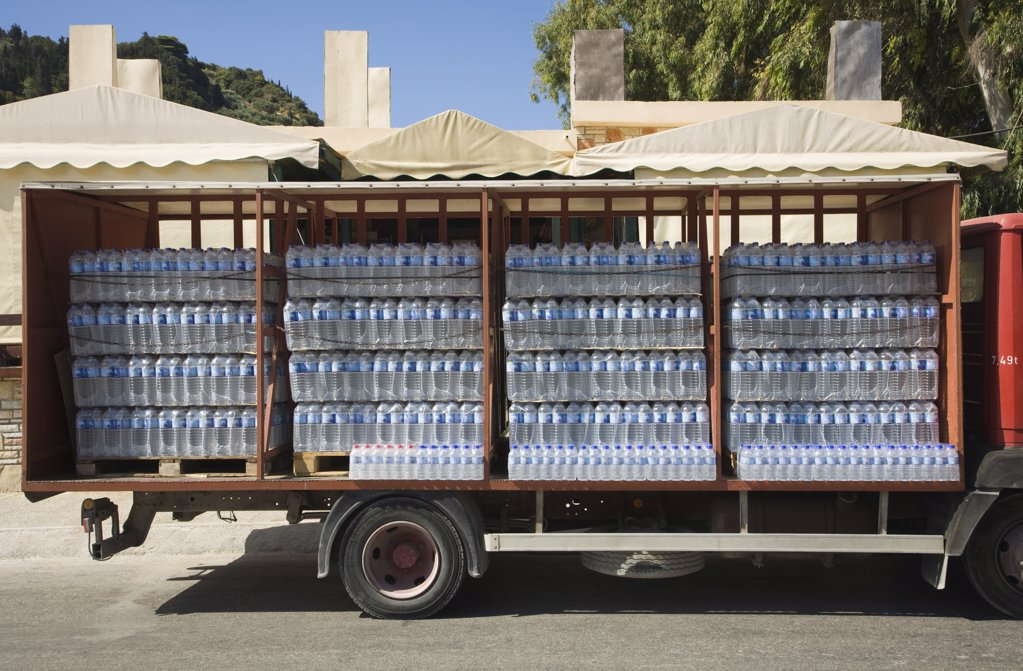 Bottles of water on a truck : Stock Photo