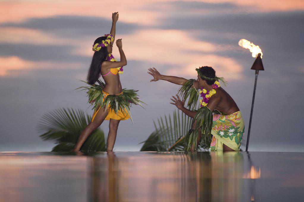 Stock Photo: 1439R-1109184 Tamure dancers in tahiti