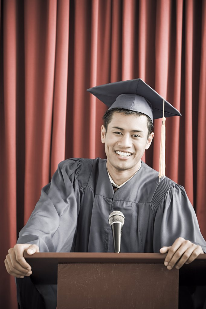 Graduate giving speech : Stock Photo