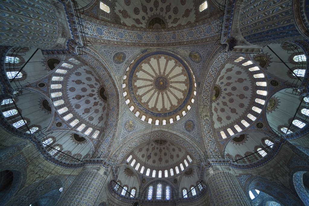 Stock Photo: 1439R-1112072 Intricate ceiling in sultan ahmed mosque