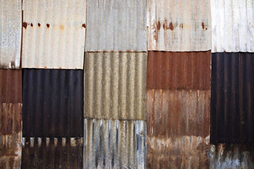 Corrugated iron wall : Stock Photo