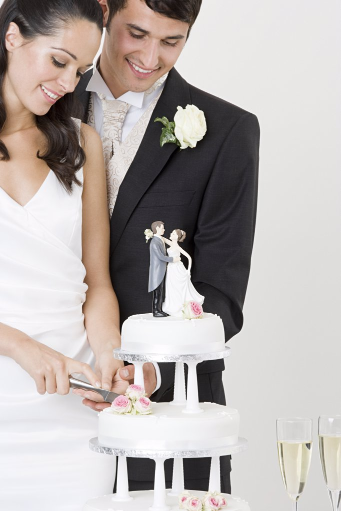 Stock Photo: 1439R-1118267 Bride and groom cutting a wedding cake