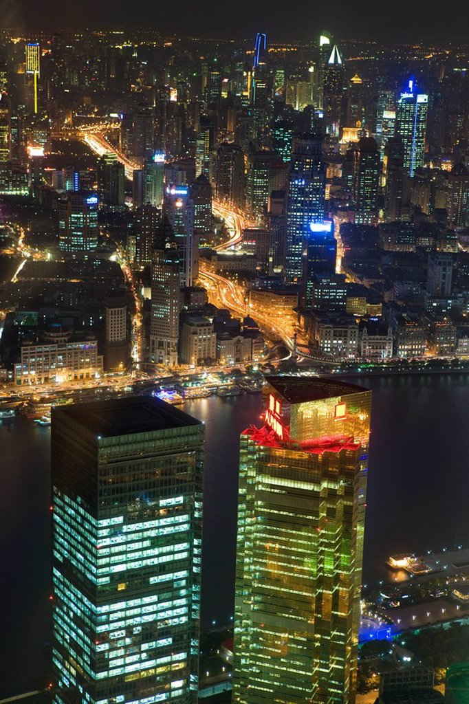 Shanghai and huangpu river at night : Stock Photo