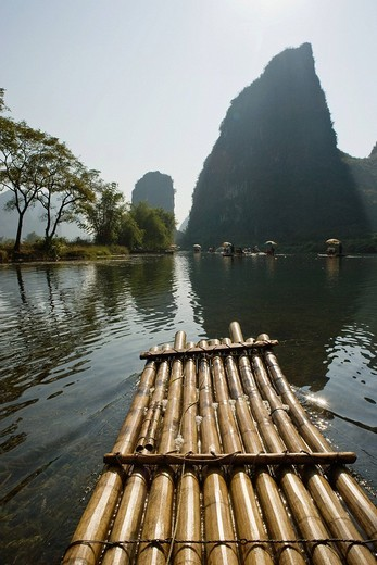 Raft on yulong river : Stock Photo
