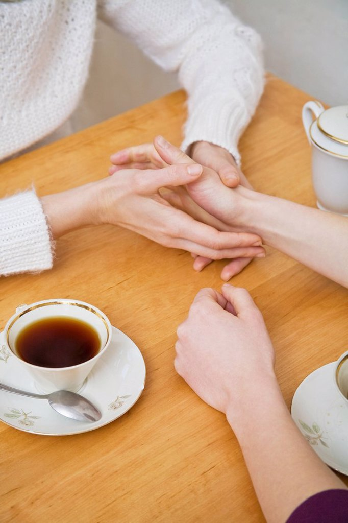 A lesbian couple holding hands : Stock Photo