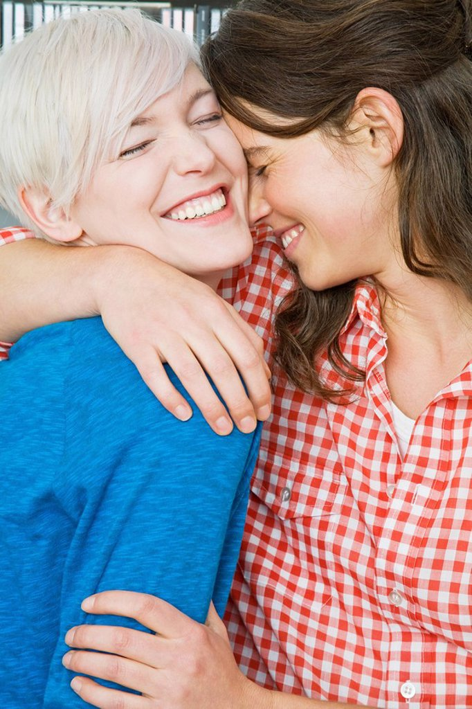 A lesbian couple hugging : Stock Photo