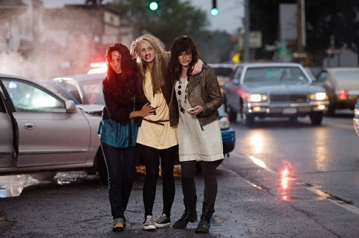 Young women after road accident : Stock Photo