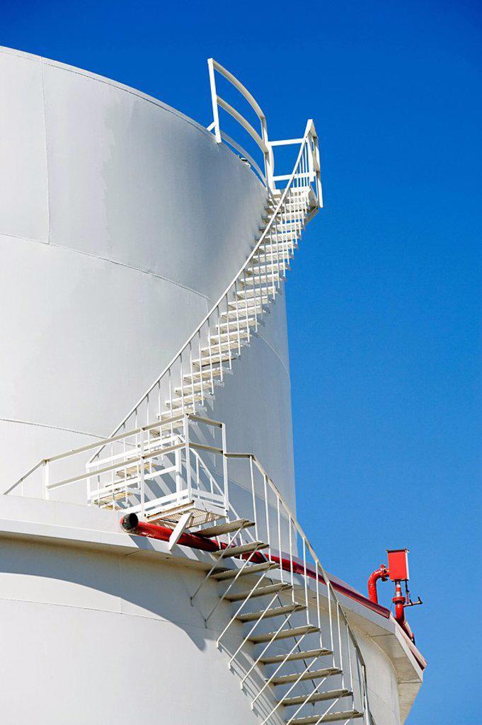 Stairs on oil storage tank : Stock Photo