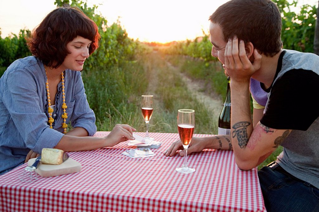 Couple playing cards on table in field : Stock Photo