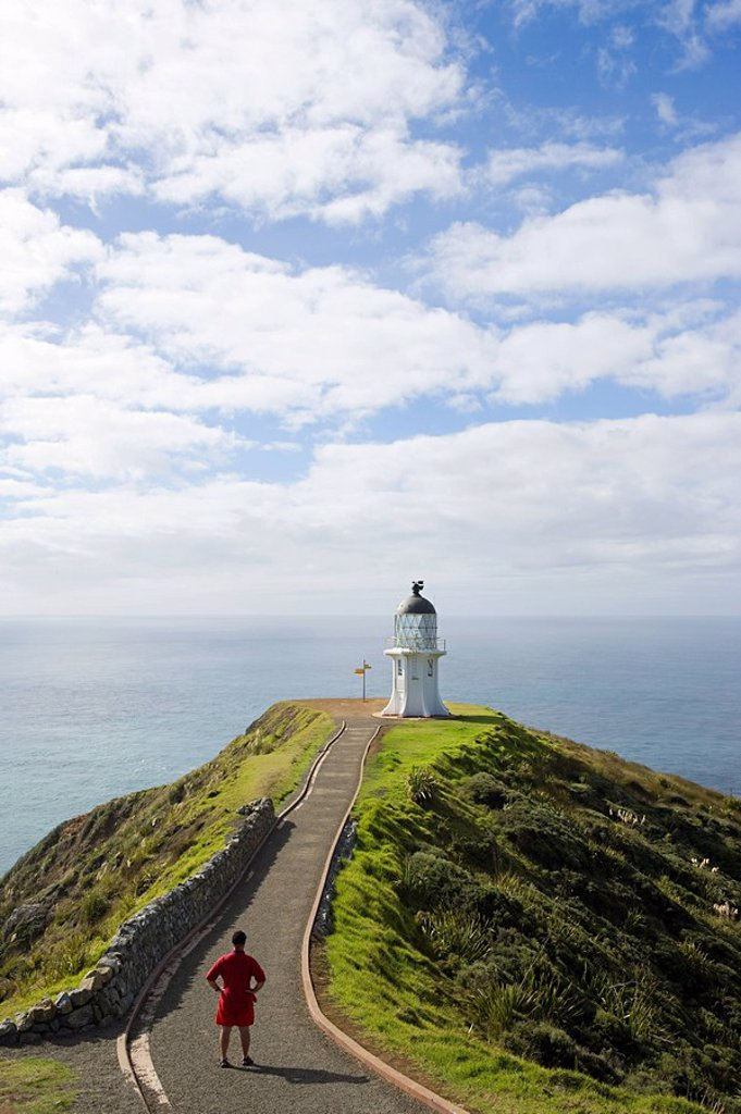 Lighthouse at Cape Reigna, Northland, New Zealand : Stock Photo