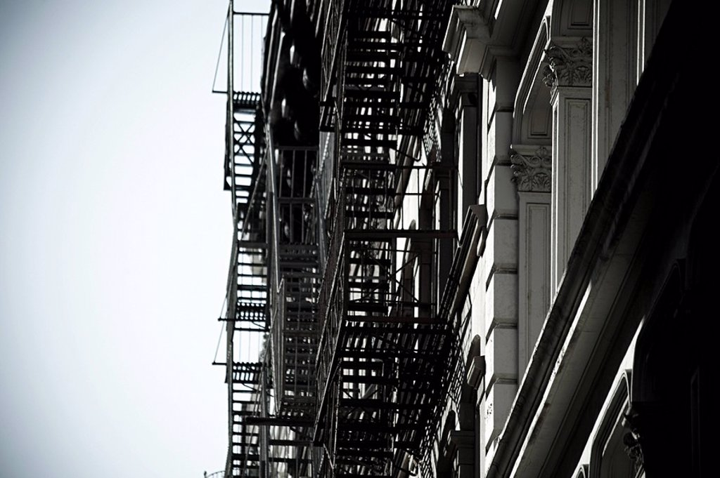 Fire escapes on new york buildings : Stock Photo