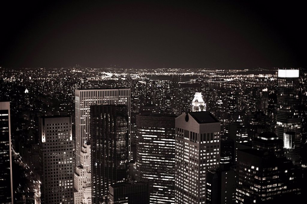 Midtown manhattan at night : Stock Photo