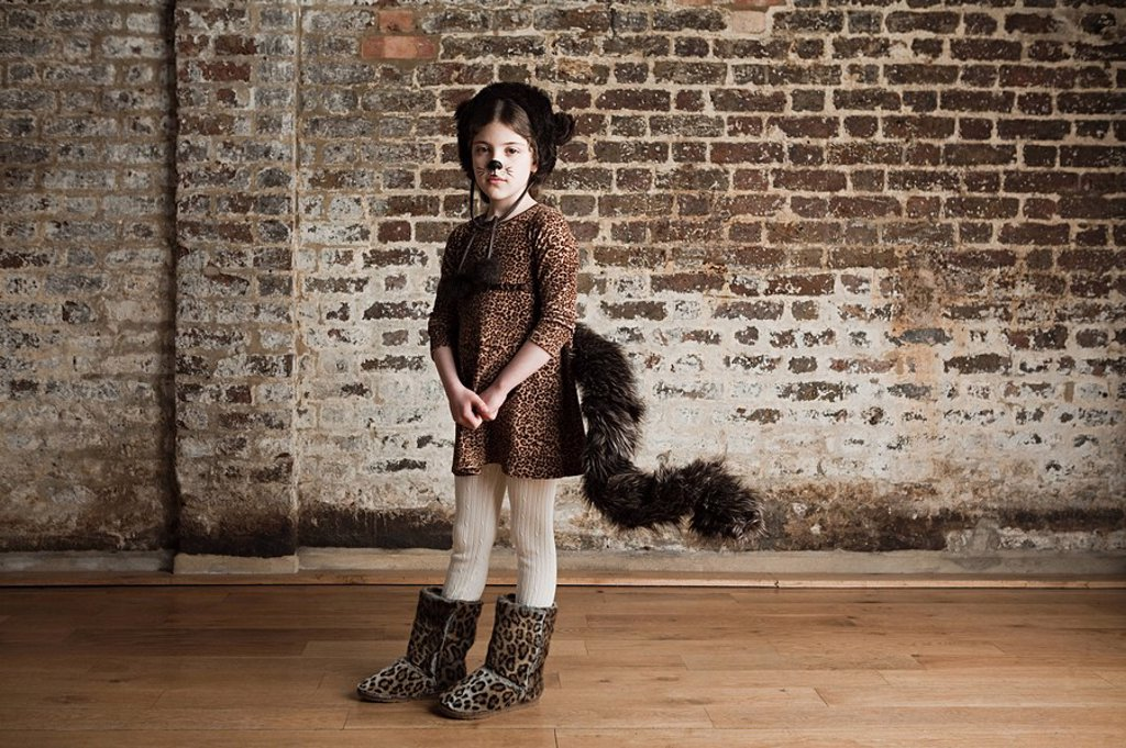 Young girl dressed up as cat : Stock Photo