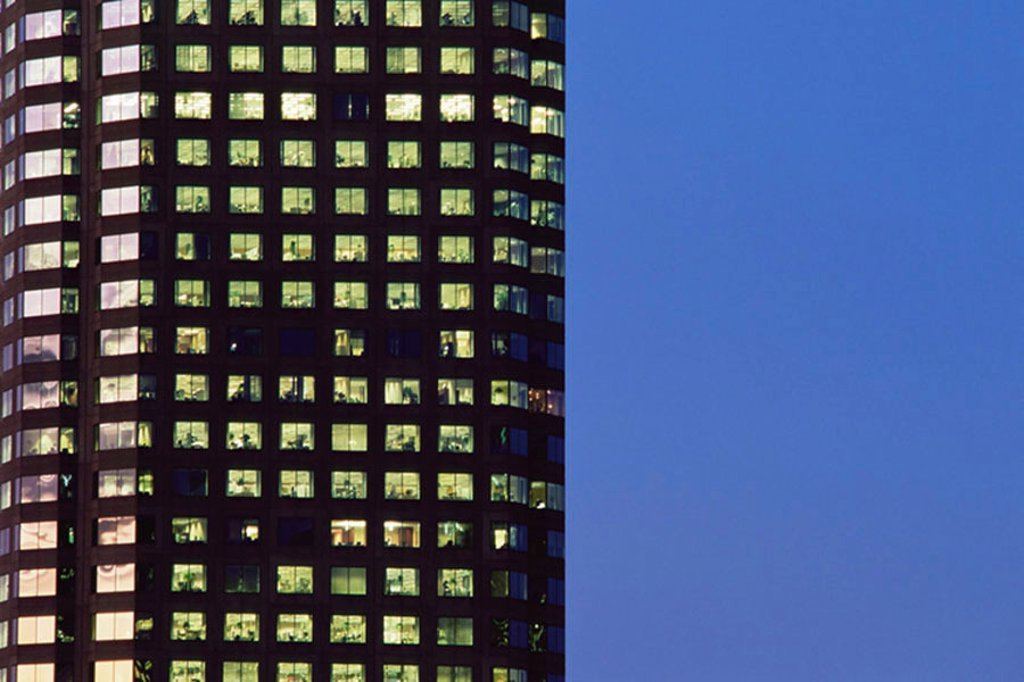 Office building at night : Stock Photo