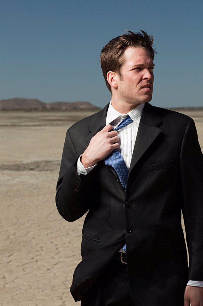 Stock Photo: 1439R-1125332 Businessman in desert