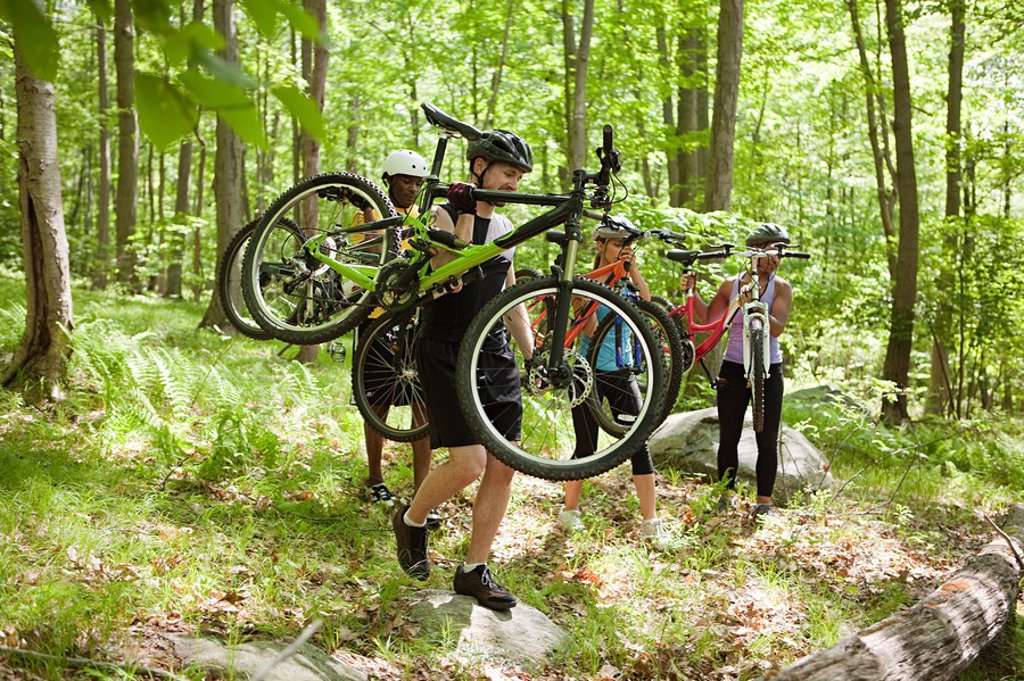 Stock Photo: 1439R-1126250 Cyclists carrying bikes in forest