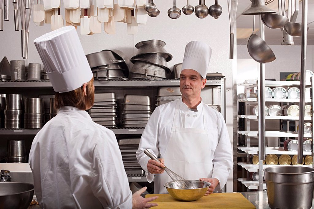 Stock Photo: 1439R-1126270 Chefs preparing food in commercial kitchen