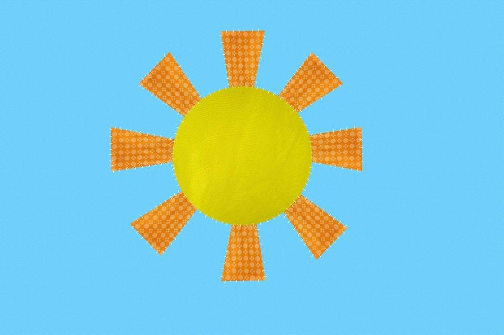 Sun shining in blue sky : Stock Photo