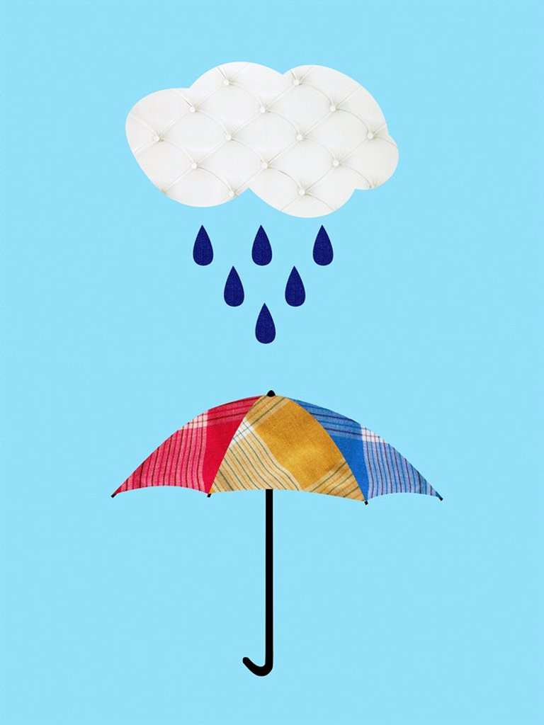Umbrella with rain and cloud : Stock Photo