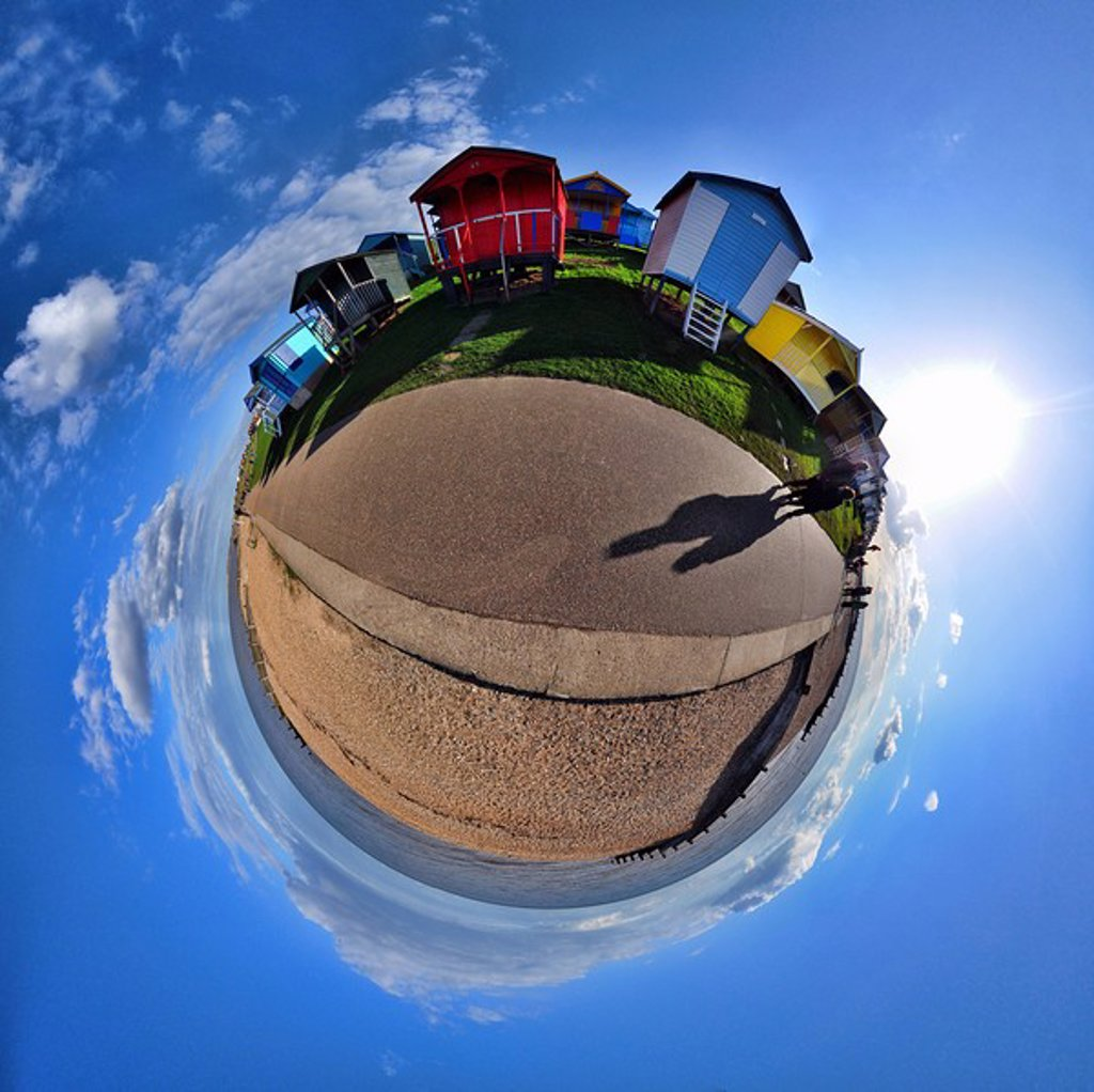 Stock Photo: 1439R-1126968 Beach huts and coast with little planet effect
