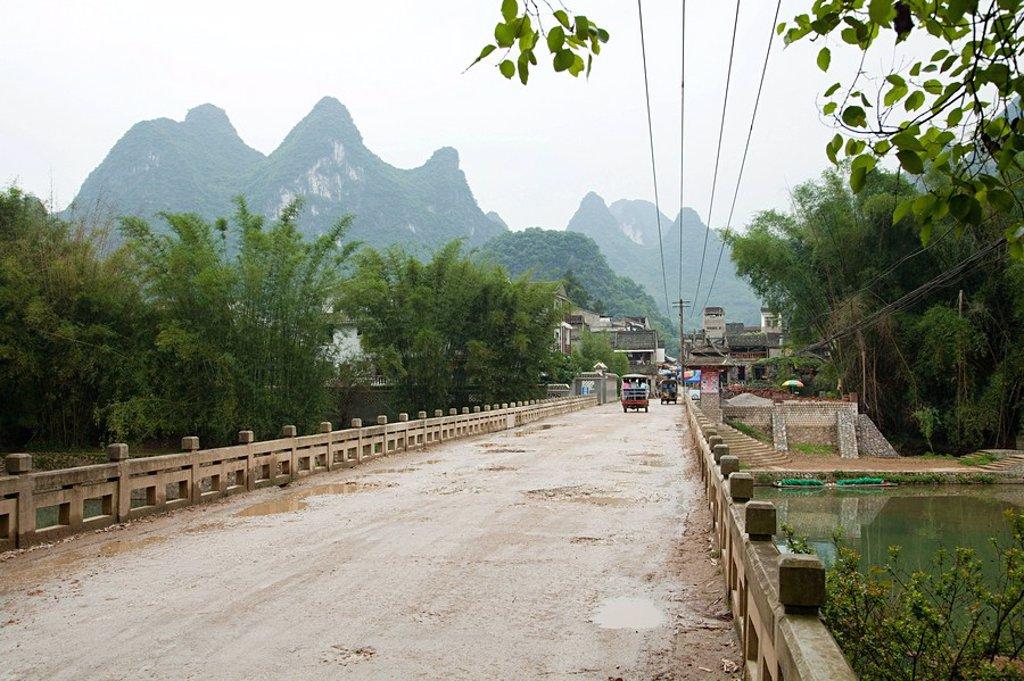 China, guangxi province, road in yangshuo : Stock Photo