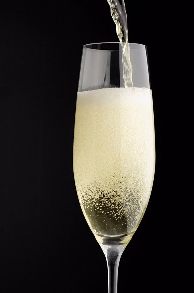 Champagne being poured into champagne glass : Stock Photo