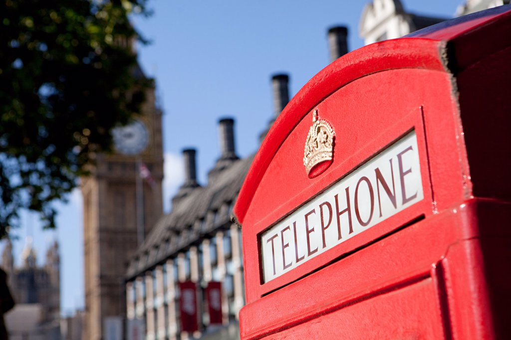 Red telephone box and Big Ben, Westminster, London : Stock Photo